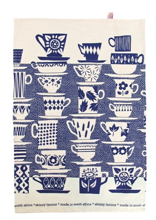 Teatowel When everyone came to tea China Blue
